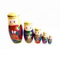Cute Wood Tole Painted Nesting Doll Set