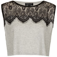 Eyelash Lace Crop Top - Tops  - Clothing