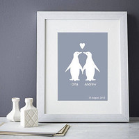 personalised penguins in love print by elephant grey | notonthehighstreet.com