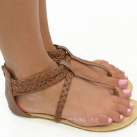 Dashboard Cruising Brown Braided Faux Leather Sandals