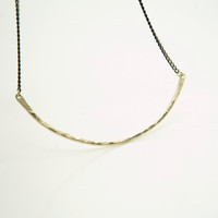 Raw Brass Skinny Bar Statement Necklace - Modern Minimalist Jewelry - Black Brass Chain
