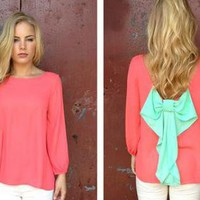 Coral Long Sleeve Blouse with Bright Mint Bow Back
