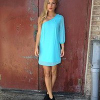 Blue Chiffon One Shoulder Dress