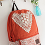 CUTE CANVAS BACKPACK WITH TRIANGLE LACE 2