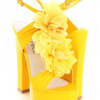 Yellow Pleated Faux Leather Strap Rosette Accent Chunky Heels