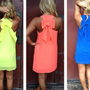 Neon Sleeveless Dress with Bow Back Detail