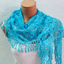 Personalized Design turquoise lace Scarf. Turkish Fabric Fringed Guipure Scarf ..bandana,headband,wedding,bridal,authentic, romantic,