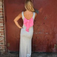 Grey Sleeveless Maxi Dress with Contrast Bow Back