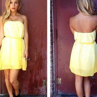 Yellow Ombre Print Strapless Dress with Tie Waist