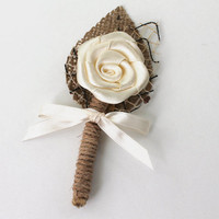 Ivory Flower Boutonniere Natural Eco Friendly Burlap Boutonniere