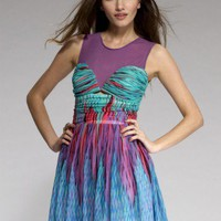 Lipsy Print Mesh Top Prom Dress