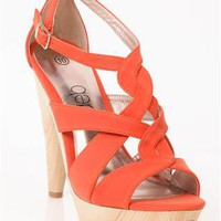 orange strappy high heel with light wooden heel - 1000044712 - debshops.com