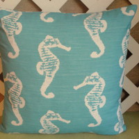 Sea Horse Pillow Cover in Aquamarine with White