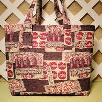 Coca-Cola Tote Bag in Brown Cream and Cherry Red Home Decor Fabric