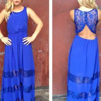 Blue Lace Sleeveless Maxi Dress with Cutout Open Back