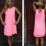 Neon Pink Sleeveless Shift Dress with Crochet Back
