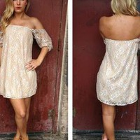 Taupe Lace Off the Shoulder Dress