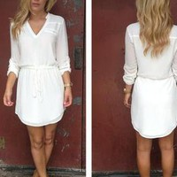 White Long Sleeve Dress with Drawstring Waist & V-Neck