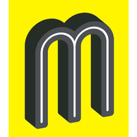 The Letter M, Original Art Print, 11x14, Typography, Alphabet, Black, White, Yellow, Gray