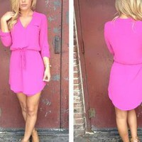 Pink Long Sleeve Dress with Drawstring Waist &amp; V-Neck