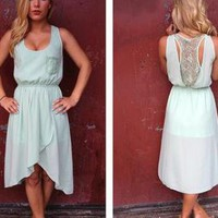 Pastel Mint Sleeveless Hi-Low Dress with Lace Cutout Back