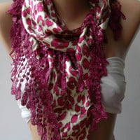 Elegance  Shawl / Scarf - Fuchsia  Leopard