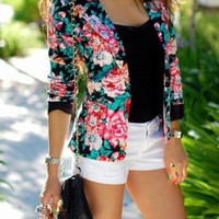 Garden Rose Print Single-Button Blazer