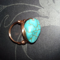 Wrapped Up in Turquoise and Copper Ring, In Your Size
