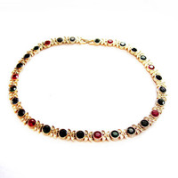 Vintage Colorful Rhinestone Gold Chain Necklace