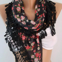 scarf womann Georgeus  Scarf   Elegance  Scarf    Feminine   Black  Pink flowered