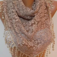 iced coffee  Lace Triangle Scarf It made with good quality Lace---Size large