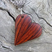 Handmade Cocobolo Pendant Necklace - Beautiful Heart Shaped Wooden Pendant with Stainless Steel Chain
