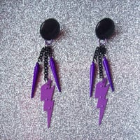 Spike Strike  Jem Inspired  Charm Earrings by onsecretwings