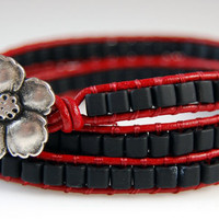 Chan Luu Style Wrap Bracelet - Matte Black Cube Beads - Red Leather Cord - Flower Clasp