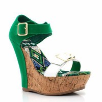 strappy cork wedge &amp;#36;23.50 in BLACK BLUE FUCHSIA GREEN MUSTARD - Wedges | GoJane.com
