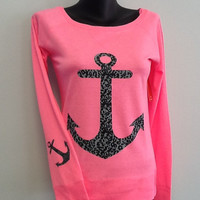 Drop Shoulder Long Sleeve Tee- Anchor