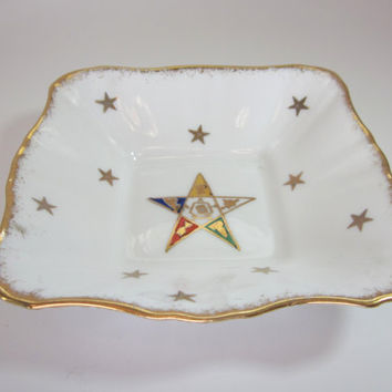 Vintage OES Order of the Eastern Star Candy dish, 22K gold trim stars Royal Stafford Bone China England