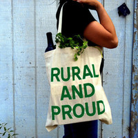 RURAL and PROUD Screenprinted Canvas Grocery Tote Bag by Epicenter