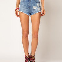 ASOS Heart Patchwork Denim Shorts