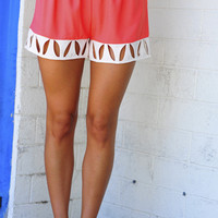 Classy And Cutouts Shorts: Coral/Ivory | Hope&#x27;s
