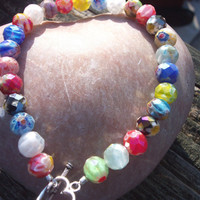 Rainbow color milefori bracelet, toggle clasp
