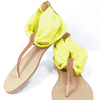 San Marco Island Neon Yellow We love the word chatrChiffon Sandals