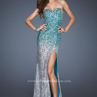 La Femme 18711 Strapless Ombre Dress