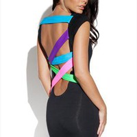 The Vestry Online | Quontum Neon Strappy Back Dress in Black