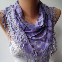 Trendy Gift Scarf - New - Mother&#x27;s Day Gift - Lilac Lace Scarf - Polka Dots Patterned Tulle Scarf with Lilac Trim Edge