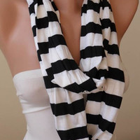 Striped Scarf - Mother&#x27;s Day Gift - Black and White Striped Infinty - Circle -  Loop Scarf - Combed Cotton Fabric