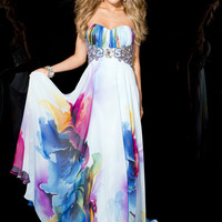 Jasz Couture 4800 - Strapless Print Prom Dresses Online