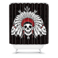 DENY Designs Home Accessories | Chobopop Geometric Indian Skull Shower Curtain