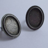 Oval Bezel Silver Plated Zamac Ring BAse1 by 1dream on Etsy
