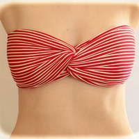 Spandex Bandeau Spandex Bikini Bra Top Stripped Red, Twisted Spandex, Strapless Bra, Bandeau Top, Bandeau Bikini